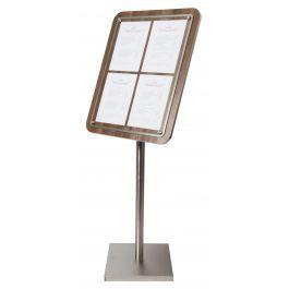 Porte-menu rectangulaire brun 4 pages Glass Star Securit