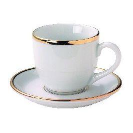 Sous-tasse à expresso rond blanc porcelaine Ø 11 cm Roma Filet Or