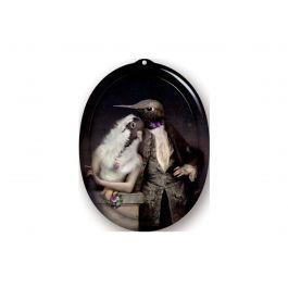 Plateau lovebirds ovale 27 cm Portrait Ibride