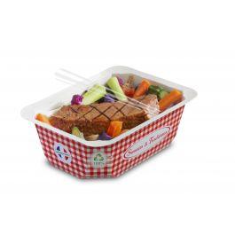 Barquette rectangulaire rouge 13,70x19,20 cm 50 cl Barquettes Food Alphaform (65 pièces)