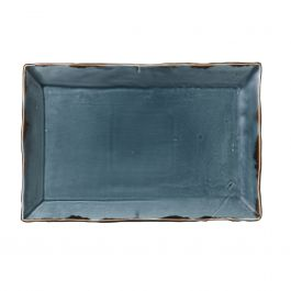 Assiette plate rectangulaire bleue porcelaine 18,70x28,50 cm Harvest Dudson