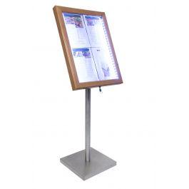 Porte-menu lumineux rectangulaire marron 4 pages led Classique Securit