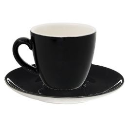 Sous-tasse à cappuccino / thé rond noir porcelaine Ø 14 cm Emotions Pro.mundi