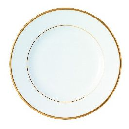 Assiette plate rond blanc porcelaine Ø 21 cm Roma Filet Or