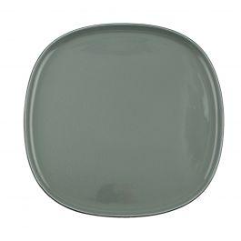 Assiette coupe plate carrée bleue porcelaine 30x30 cm Ikon Ariane