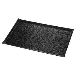 Plat de présentation rectangulaire noir plastique 60 cm Pap Glace Platex
