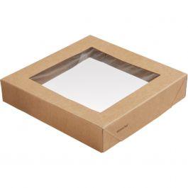 Couvercle fenêtre pour boîte 120 cl rectangulaire marron 14x14 cm Viking Duni (300 pièces)