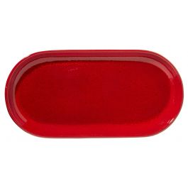 Assiette à burger rectangulaire rouge grès 14x29 cm Gres Couleur Pro.mundi