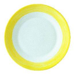 Assiette plate ronde jaune verre Ø 15,50 cm Brush Arcoroc
