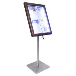 Porte-menu lumineux rectangulaire 4 pages led Classique Securit