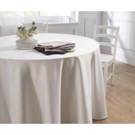 Nappe ronde blanc polyester Ø 300 cm Saten Denantes