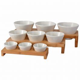 Présentoir buffet 3 bols rectangulaire bois 3,30 l 49,50 cm Vollrath