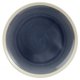 Assiette plate ronde bleue grès Ø 22 cm Winter Pro.mundi