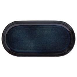Assiette à burger rectangulaire bleue grès 14x29 cm Gres Couleur Pro.mundi