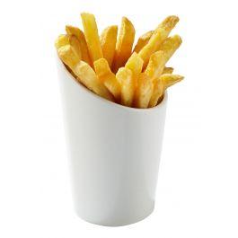 Cône à frites rond blanc porcelaine 24 cl Ø 8 cm
