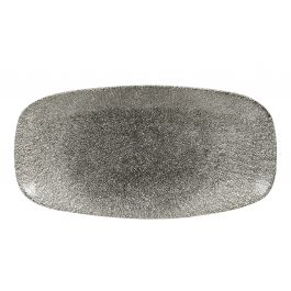 Assiette plate rectangulaire quartz porcelaine 15,30x29,80 cm Raku Churchill