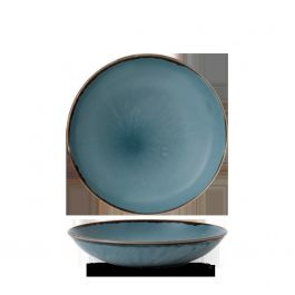 Assiette coupe creuse ronde bleue porcelaine Ø 24,80 cm Harvest Dudson