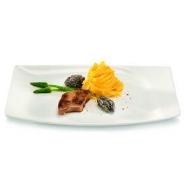 Assiette plate rectangulaire ivoire porcelaine 21 cm x 32 cm Mazza Rak